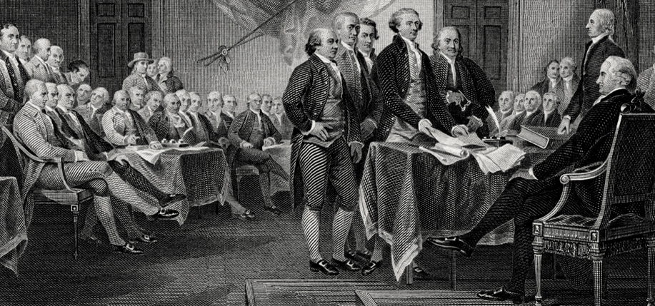 Bureau of Engraving and Printing engraved vignette of John Trumbull's painting Declaration of Independence (c. 1818). Engraving by Frederick Girsch. Scanned from an original impression, part of a Treasury Department presentation album of portraits and vignettes (c. 1902), possibly presented to Lyman Gage. (Image: Wikimedia Commons)
