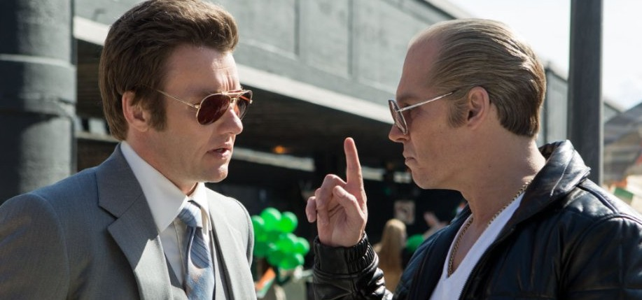 "Johnny Depp is going through an Irish phase. Above as Whitey Bulger, right, in ""Black Mass."""