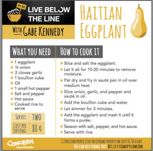 One of the recipes Kennedy developed while working with Concern. Click to enlarge.