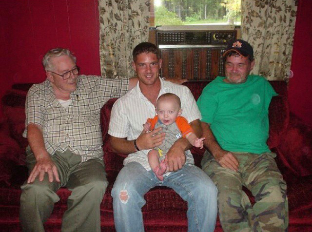 Noah with his grandfather, his father, and his son Colston in a photo taken before his deployment to Iraq. (Photo courtesy Noah Galloway)