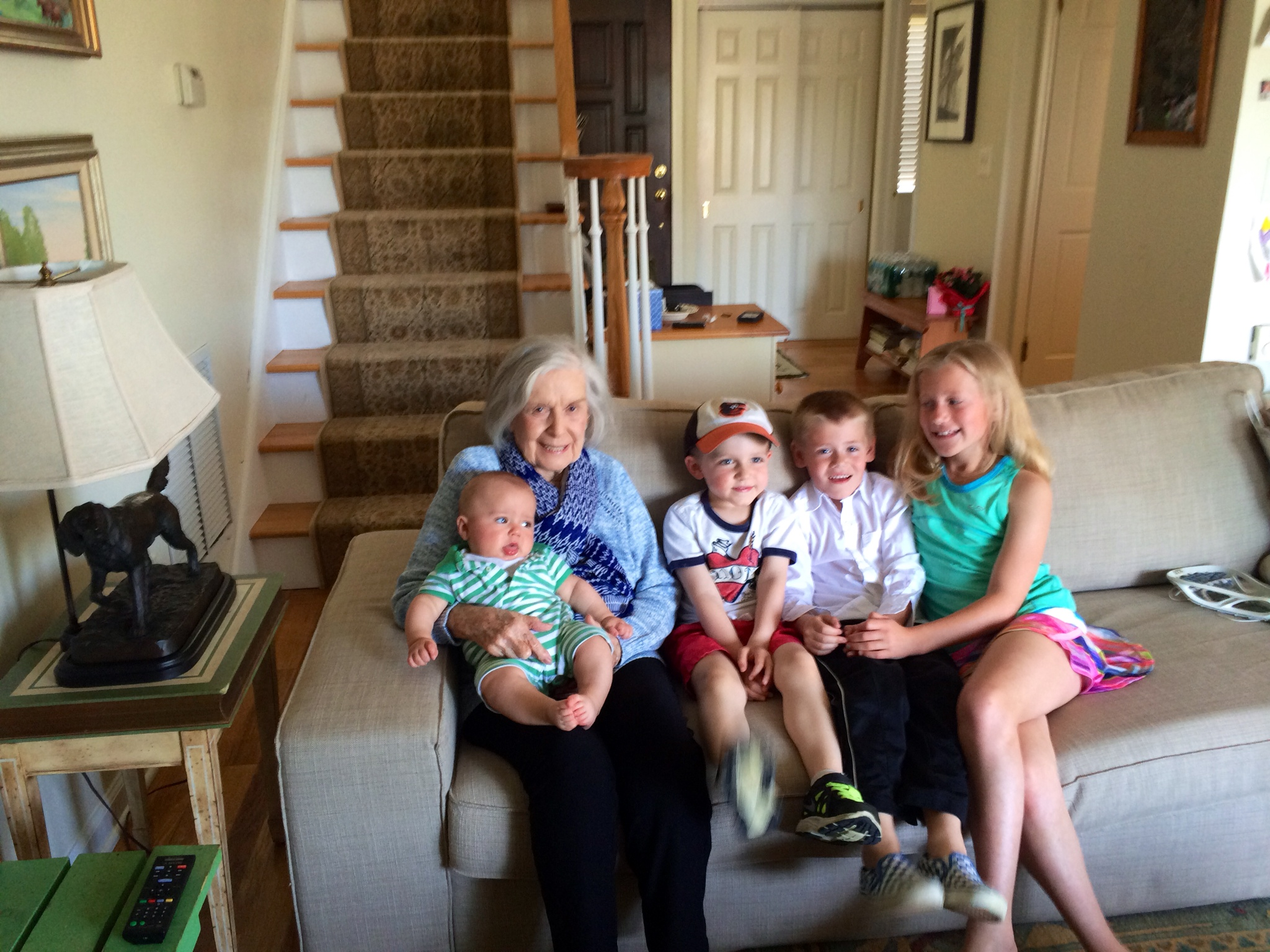 Mariann with her great-grandchildren: left to right: Charlie Lord, Jack Lord, Eddie Panian and Aidan Panian. Photo courtesy of the author.