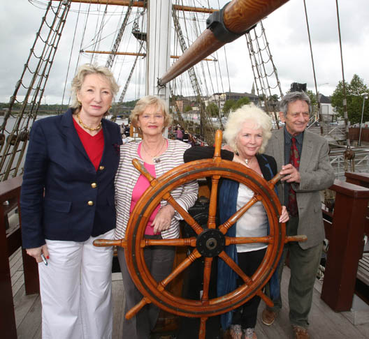 Dr. O'Connor, pictured at the Dunbrody ship, New Ross where his wife, actress Fionnuala Flanagan, and Liam Clancy were inducted in the Irish American Hall of Fame, with Patricia Harty and Kim Clancy (Liam's wife). (Photo Patrick Browne)