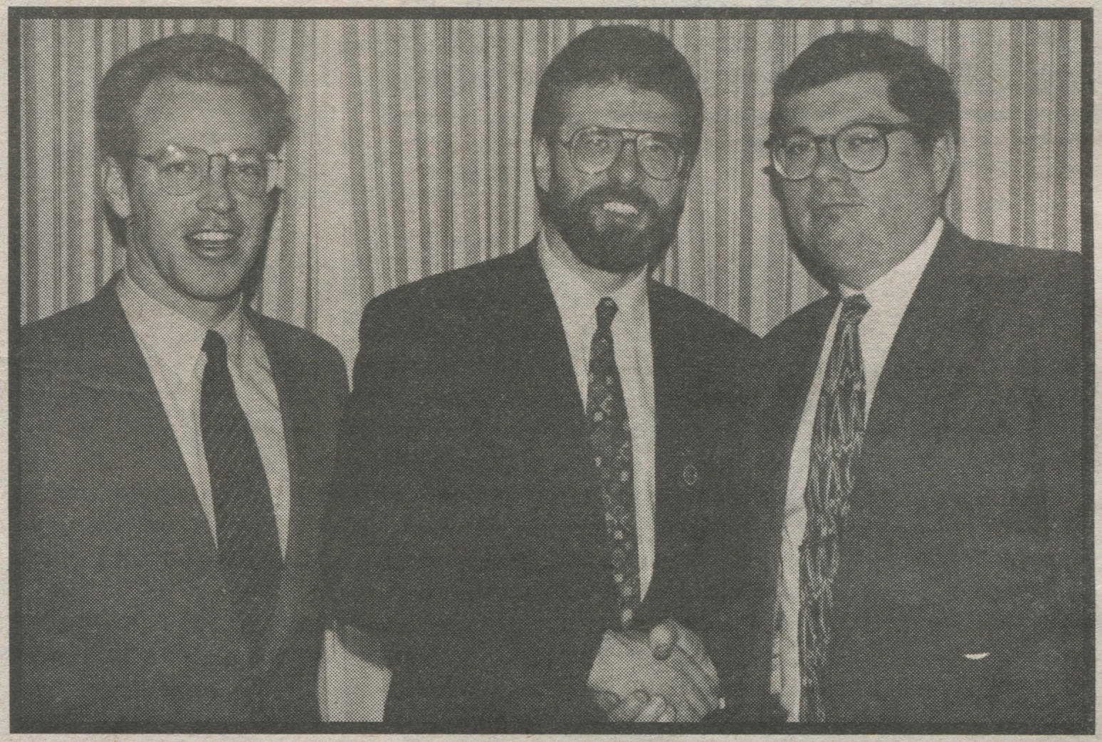 Bill Lenahan (left) and Joe Jamison (right) with Gerry Adams in 1994. (Irish Voice)