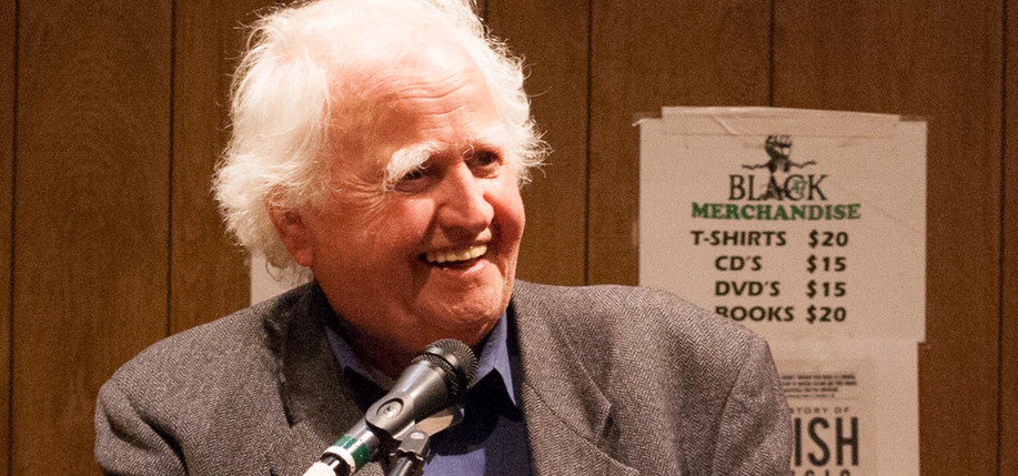 What makes the Irish so funny? Malachy McCourt (above at the IAW&A Salon at The Cell in New York in April) and two other comics weigh in.