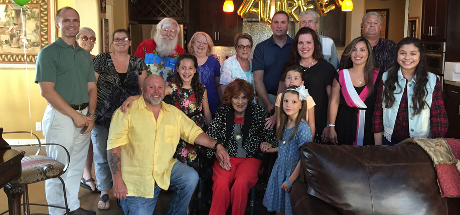 Family and friends gather with Maureen O'Hara for her 95th birthday.