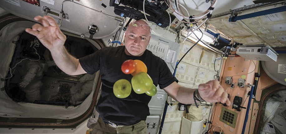 A recent photograph of Scott Kelly on the International Space Station.
