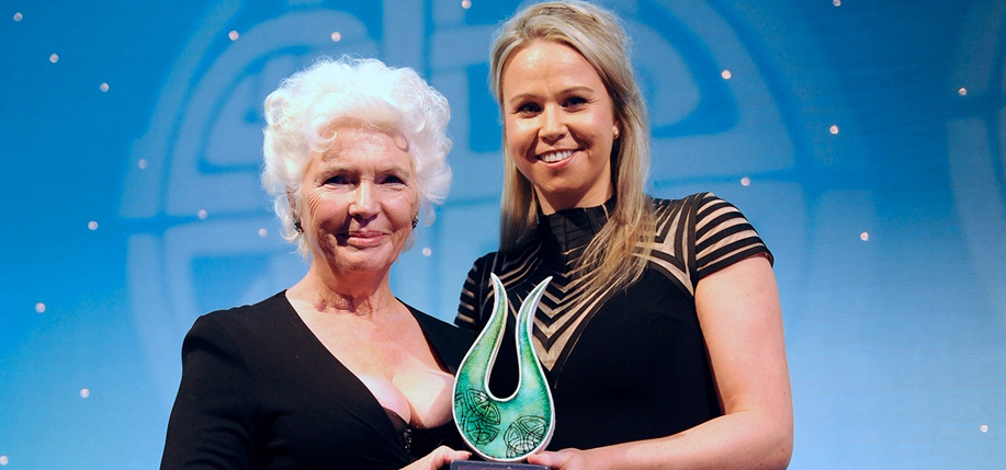 Numerous Irish and Irish American public figures were honored this fall. Above, actress Fionnula Flanagan receives the Irish Post Award for her contribution to the entertainment industry from Irish Post editor Siobhan Breatnach. (Photo: Irish Post)
