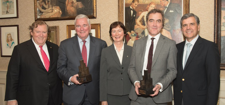 Pictured left to right: Tom Moran, honoree John Kelly, Sr., Mary  Turley, Trustee/Director of Flax Trust, honoree James Nesbitt, and  Jim Quinn.