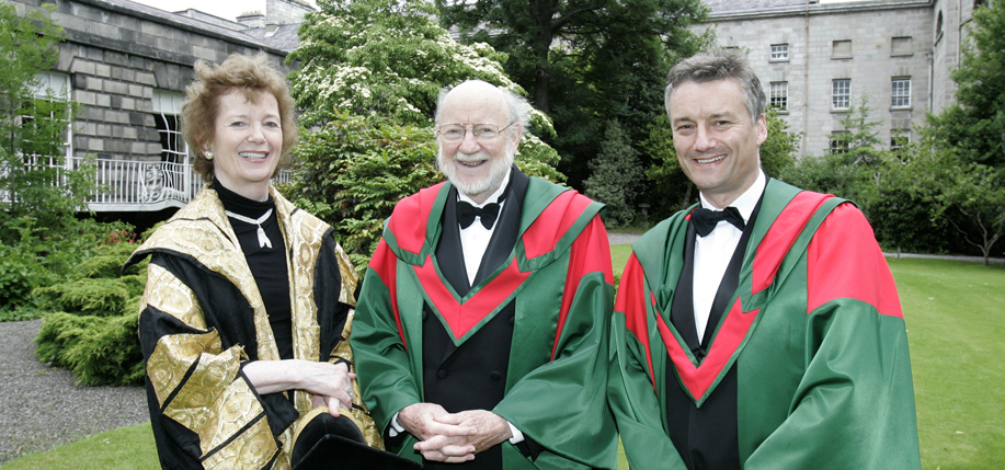 Professor William Campbell (center), former Director of Parasitology at Merck who was centrally involved in developing Ivermectin, the cure against river blindness, was conferred with a Doctor in Science (Sc.D) is pictured with the Chancellor of the University, Mary Robinson and  TCD Provost, Dr Patrick Prendergast at Trinity College Dublin. (Photo: Justin Mac Innes / Mac Innes Photography)