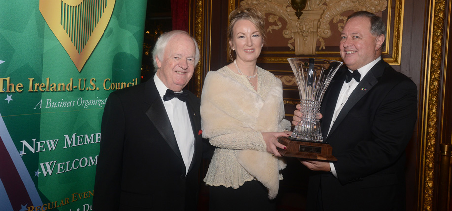 Brian W. Stack, President  of the Ireland – U.S. Council,  Siobhán Talbot and Donard Gaynor, dinner chairman and council board member.