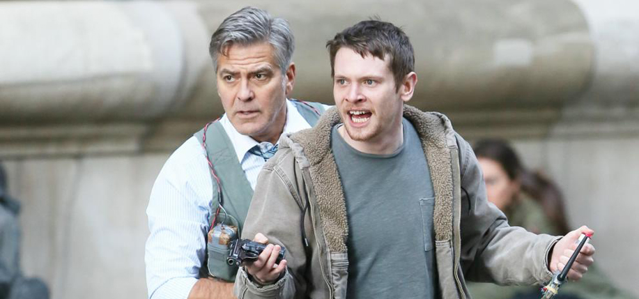 George Clooney and Jack O'Connell filming Money Monster in New York's Financial District earlier this year.