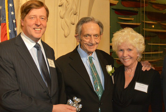 Dr. Garrett O'Connor, a pioneer of addiction treatment who died early September, center, at the 2014 Irish America Healthcare and Life Sciences 50 Awards with his wife Fionnula Flanagan (right) and Ciaran Murray, CEO of ICON plc. (Photo: Nuala Purcell)