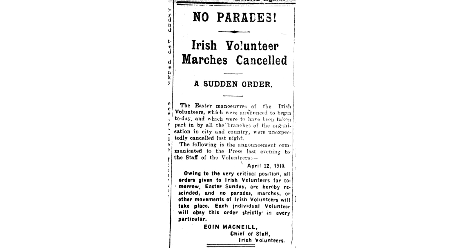 MacNeill's Irish Volunteer order to  call off the Rising that ran April 21, 1916.