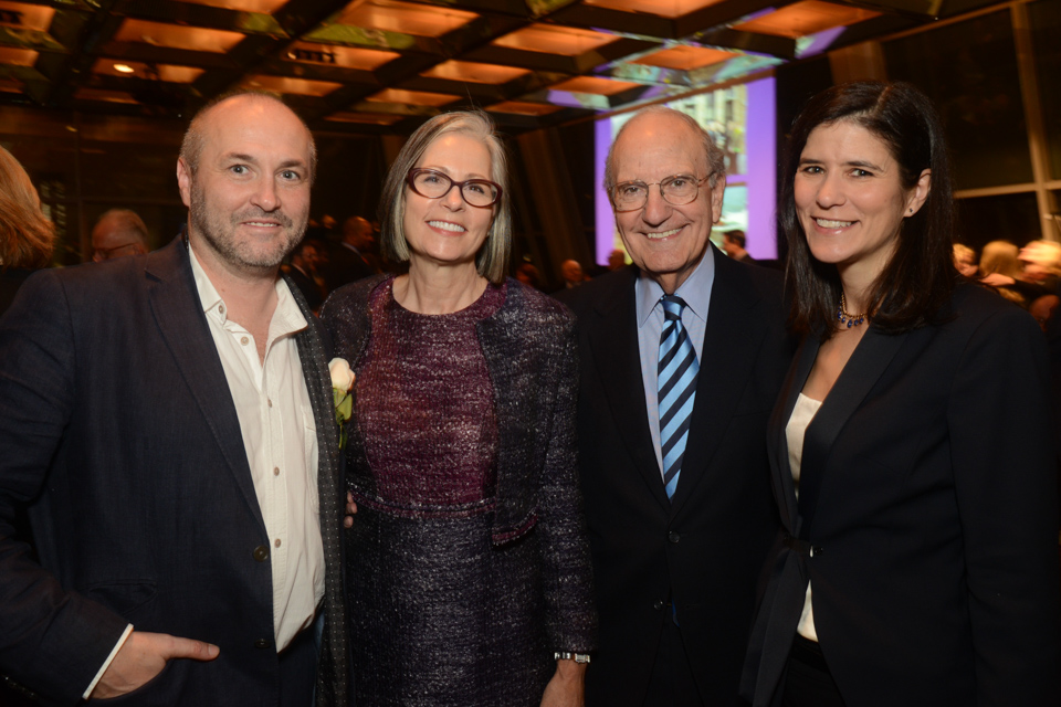 Colum McCann and his wife Allison (far right) with former Senator George Mitchell and his wife Heather, who also attended the gala. (Photo by James Higgins)