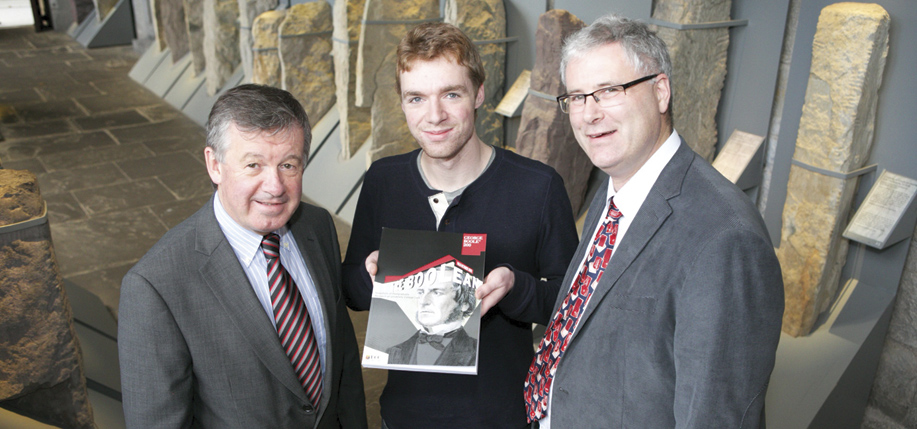 Pictured (l-r): Dr Michael Murphy, President of UCC; student Alan McCarthy from Charleville; and Professor Liam Marnane, Dean of Graduate Studies, UCC at the launch of the fifth volume of The Boolean. Photo: Donagh Glavin