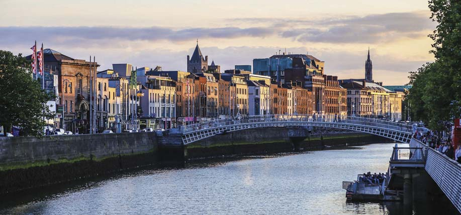 Dublin is an urban battlefield. The Ha'penny Bridge where the toll collector stayed in place during the Rising  demanding the half penny toll from rebels  as they crossed over.