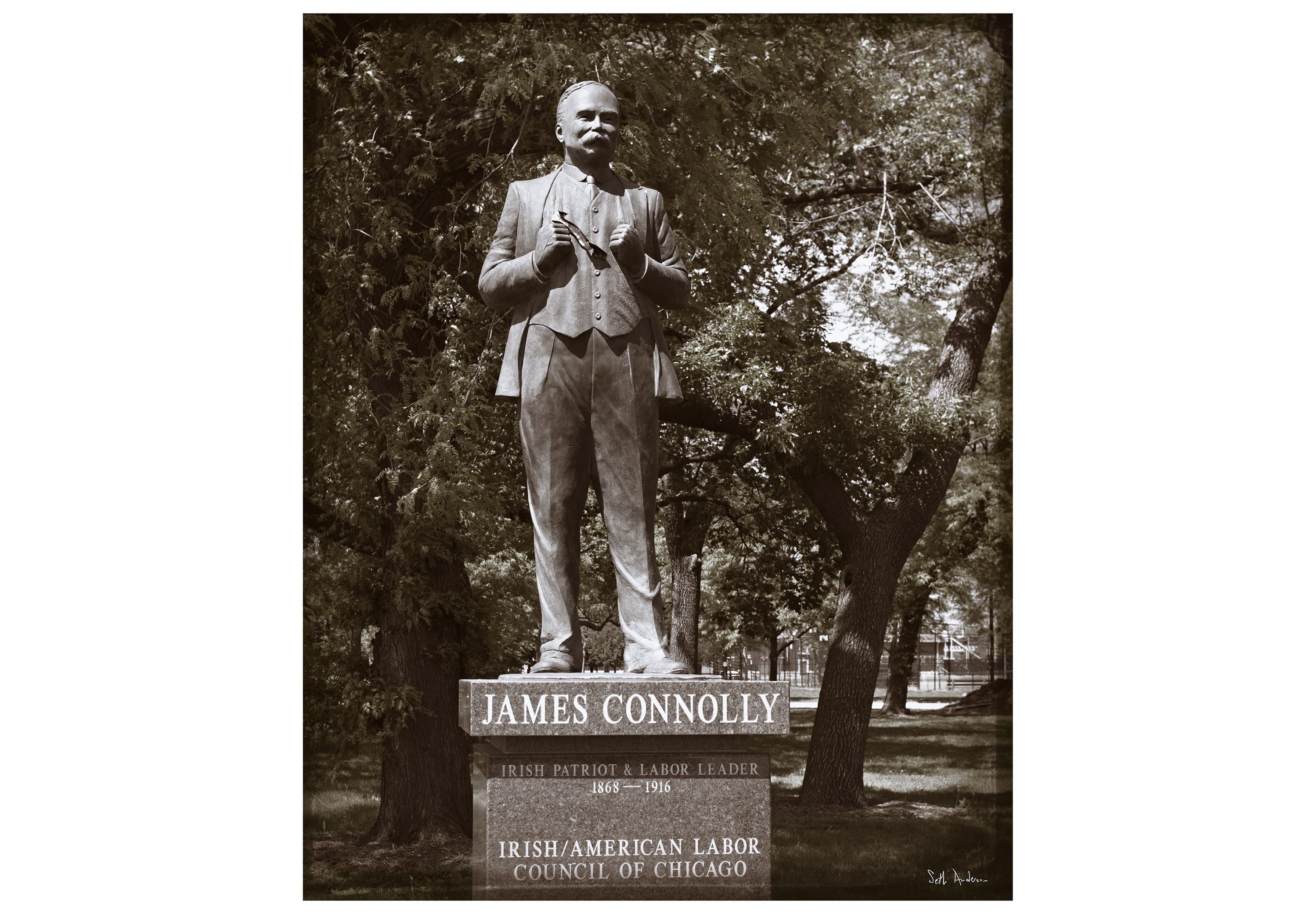 The James Connolly Monument in Chicago's Union Park.