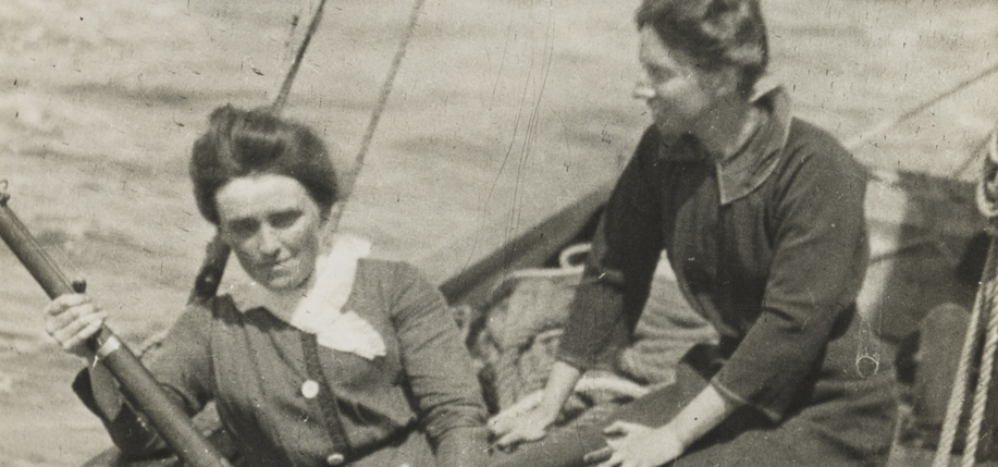 Mary Spring Rice and Molly Childers on board the Asgard holding arms from  Germany which were successfully landed in Howth Harbour, July 26, 1914.