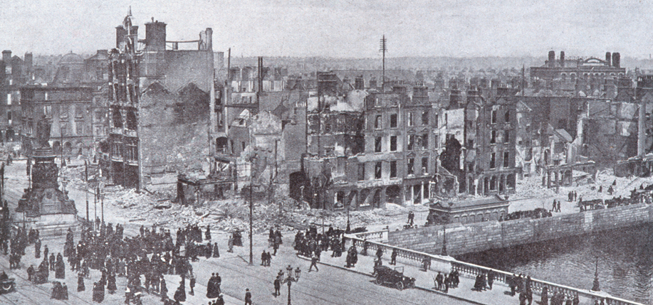 View of the  O'Connell Bridge, looking north,  following the British shelling of Dublin during the  Rising.