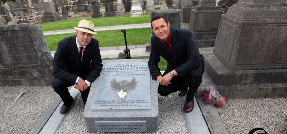 Rossa Cole (left) and  Williams Rossa Cole at Jeremiah O'Donovan Rossa's grave.    The brothers are making a documentary film about their great-grandfather, the Irish Fenian leader.