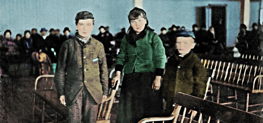 Records for countless Irish families -- including that of Annie Moore, first to arrive at Ellis Island (seen here with her brothers for the first time colorized) -- are held in this remarkable collection.