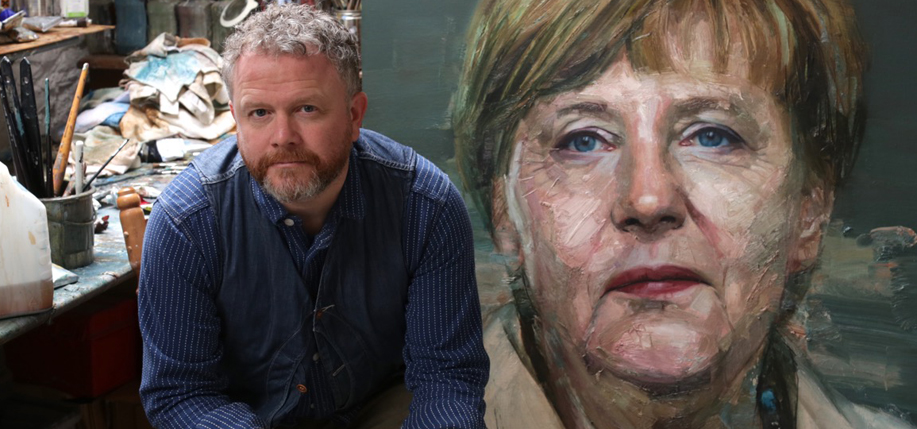Colin Davidson with his portrait of Angela Merkel.