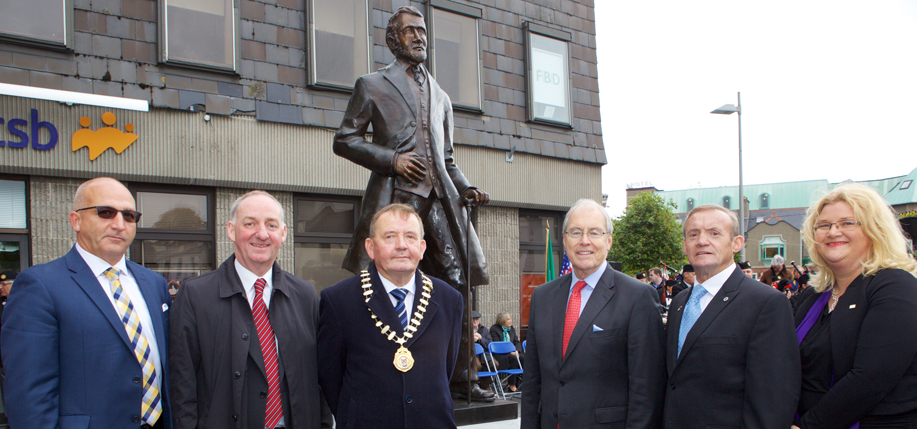 From left: Garrett Doyle, Kildare Association of New York; Peter Carey, Chief  Executive, Kildare County Council; Mayor of Kildare, Councillor Brendan Weld; Kevin O'Malley, Ambassador of the United States of America; Mike Flood,  Kildare Association of New York; and Marian Higgins, County Librarian of Kildare attend the unveiling of the Naas statue last year.
