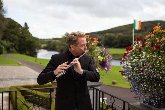 "Michael Flatley plays a traditional wooden flute for ""The Rising"""
