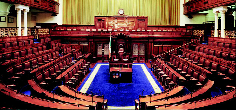 The Dáil chambers in Dublin, empty.