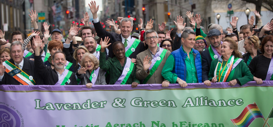 Mayor Bill de Blasio and the First Lady of New York City Chirlane McCray march with the Lavender and Green Alliance in the St. Patrick's Day Parade on Fifth Avenue in New York on Thursday, March 17, 2016. Michael Appleton/Mayoral Photography Office