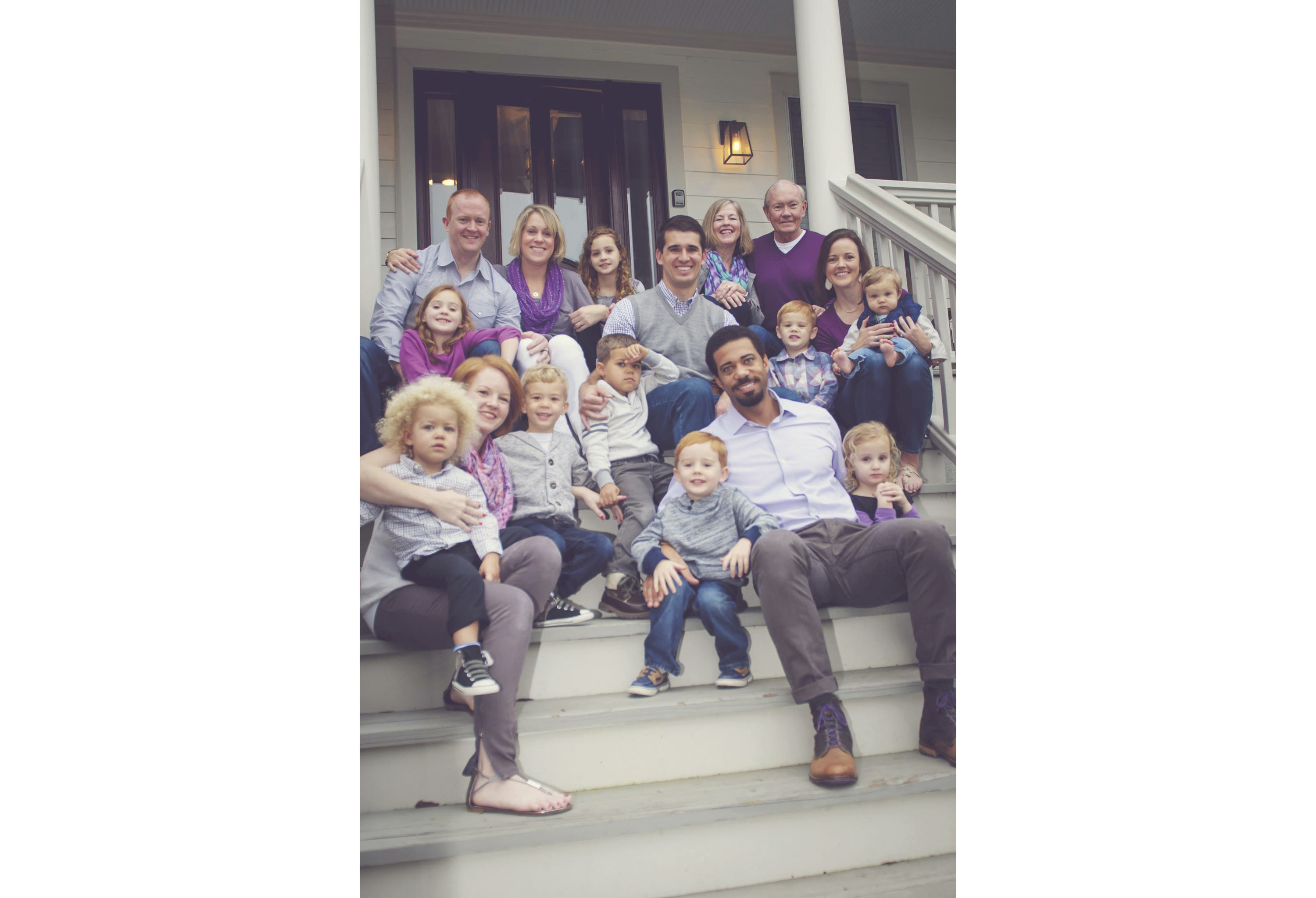 Dempsey and his wife Deanie (top right) at home with their family.­