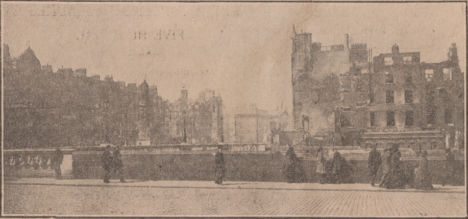 """An image from the first issue of the Irish Times following the Rising. The caption reads in part, """"The corner of Lower Sackville Street and Eden Quay, as seen from Burgh Quay."""" (Photo: W. McCrae, Berkeley Road / Irish Times, 1916)"""