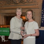 Patricia Harty presents House of Waterford Crystal award to Ambassador Anne Anderson