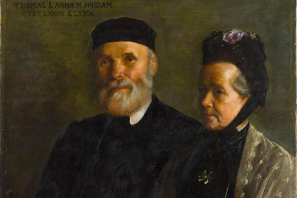 Sarah Cecilia Harrison's double portrait of Anna and Thomas Haslam, who founded the Dublin Suffrage Association in 1876, four years after the North of Ireland Society for Women's Suffrage had been established by Isabella Tod. (Photo: Sarah Cecilia Harrison, Mr and Mrs Thomas Haslam, 1908: Hugh Lane Gallery, Dublin)
