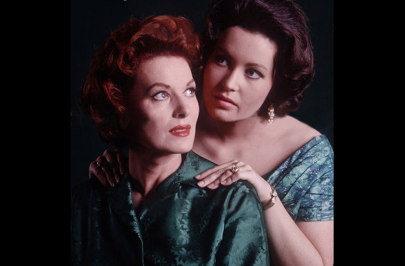 """Maureen O'Hara with daughter Bronwyn. Image from the """"Delani Collection"""" for presentation on """"Maureen O'Hara Magazine on Facebook."""" Photo courtesy of the Author"""