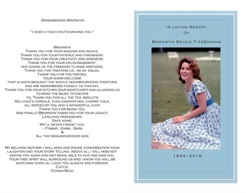 Memorial card for Bronwyn Brigid FitzSimmons. Courtesy of the author.