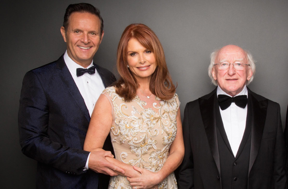 Downey with her husband Mark and President Michael D. Higgins at the IFTA Awards.