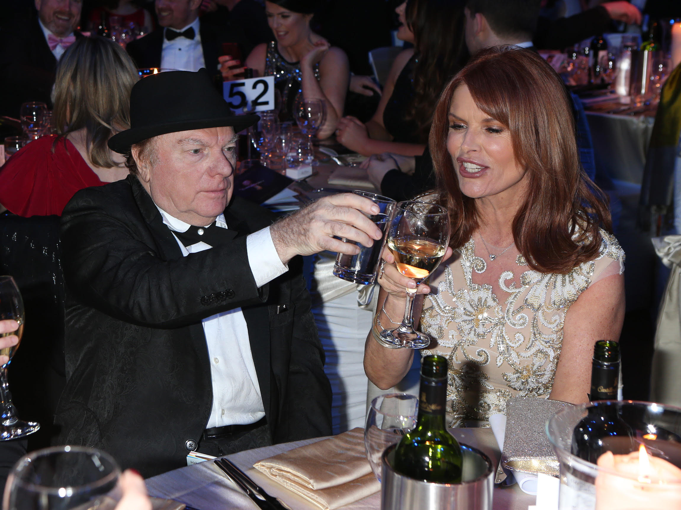 Van Morrison toasts Roma Downey at the IFTA Film and Drama Awards 2016 at the Mansion House, Dublin. (Photo by Kyran O'Brien)
