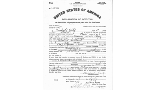 Declaration of Intention to become a U.S. citizen for Michael Carty completed in 1923 when he was still using the original version of his name. (Cook County Clerk of the Circuit Court)