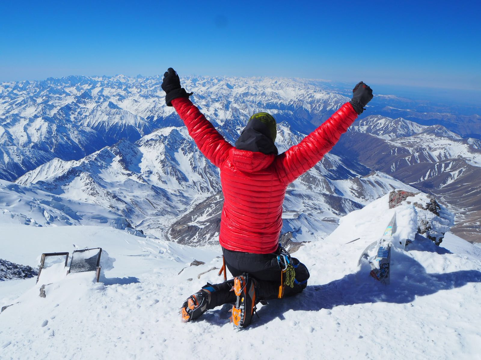 The Caucasus mountains in Russia, seen from the peak of Mount Elbrus, the tallest mountain in Europe.