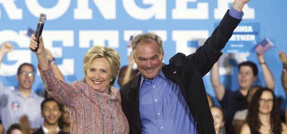 Hillary Clinton and Tim Kaine, whose Irish roots are in Longford and Kilkenny.