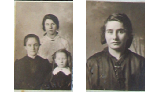 Photos from the  passport application of  McCarthy's great-grandmother and her daughters from the book seen here. The little girl  on the right in the photo on  the top is her grandmother.  (National Archives and Records  Administration)