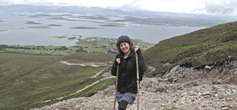 Sharon on the first leg of her climb up Croagh Patrick, Ireland's holy mountain.