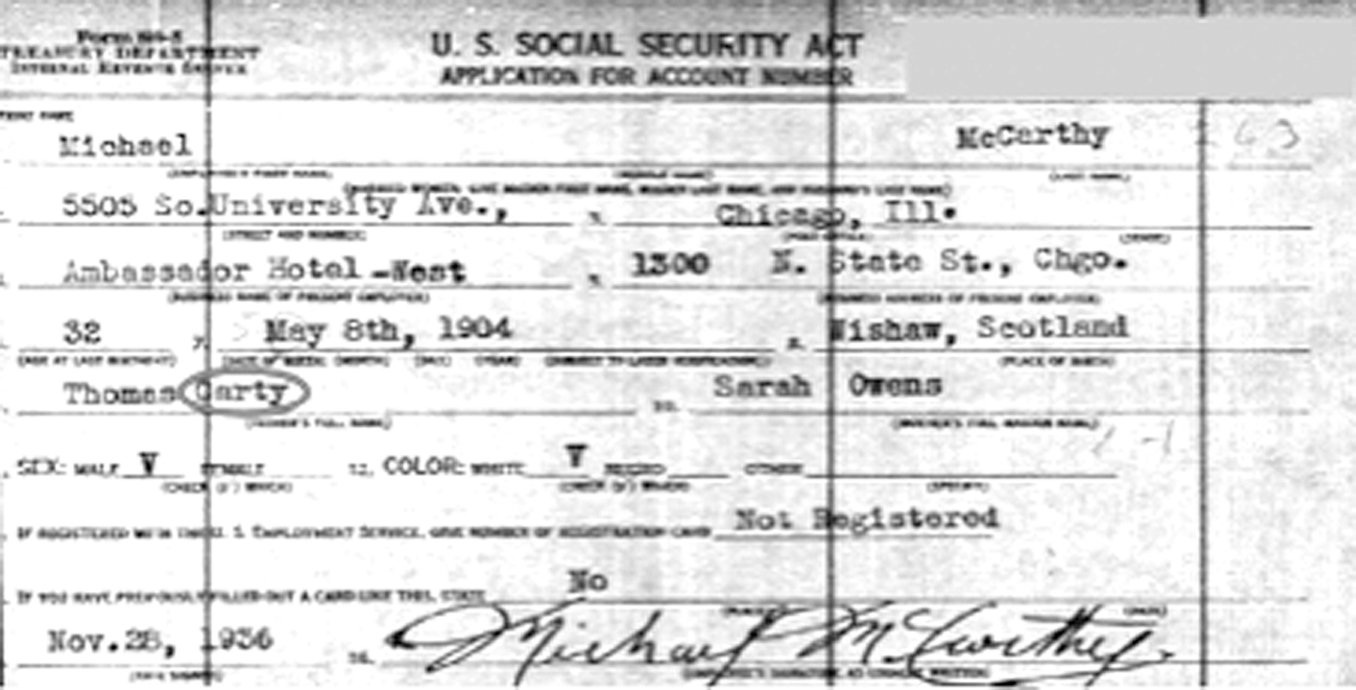1936  Social Security  application for Michael McCarthy showing  his father as Carty.  (Social Security  Administration.)
