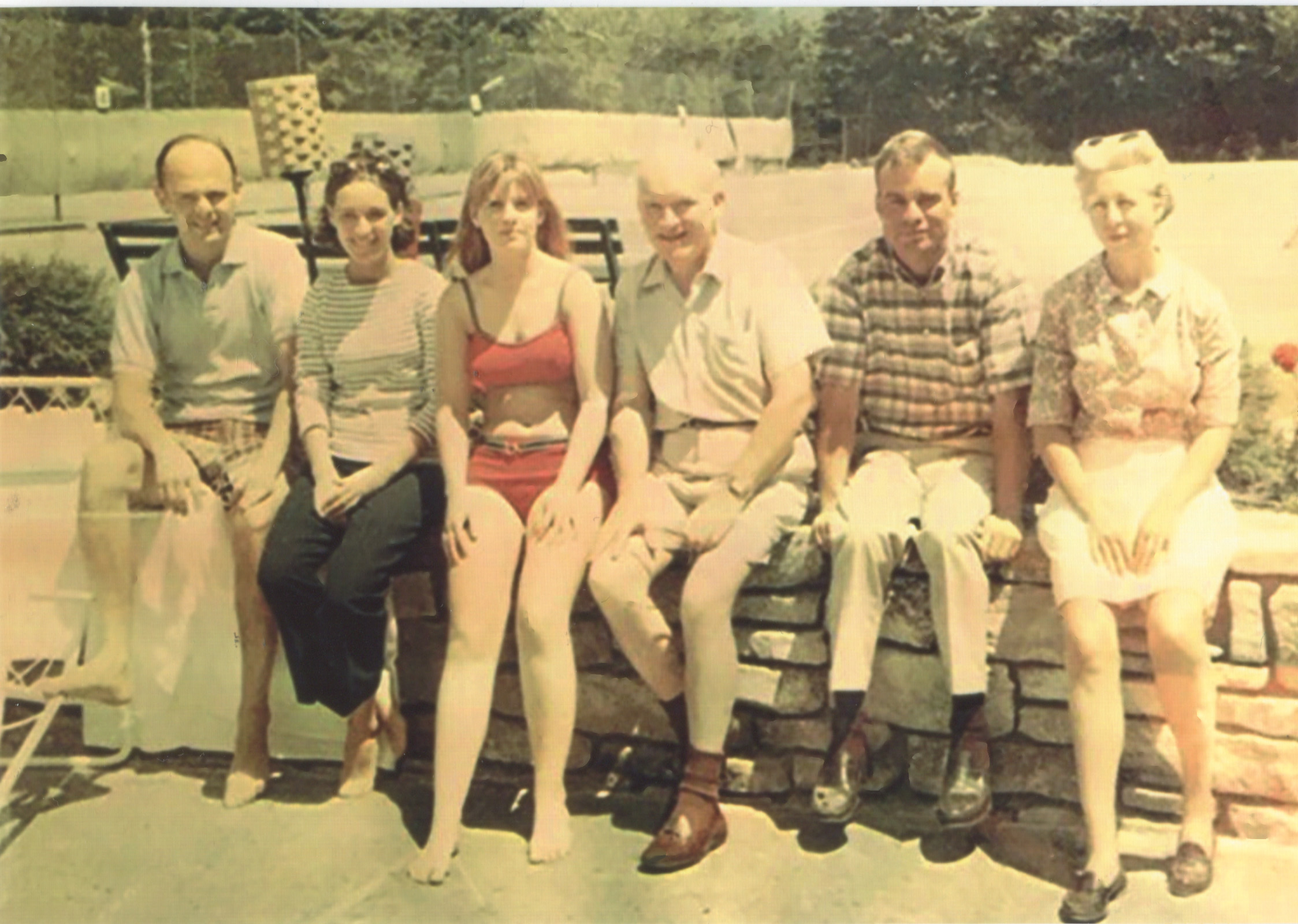 The Donovan family at Lake Placid, New York, c. 1967.  From left: Dr. Edward Amorosi and his wife, Jan; Mary Ellen; James Donovan; John; and James's wife, Mary. (Courtesy of John  Donovan / Fordham University)