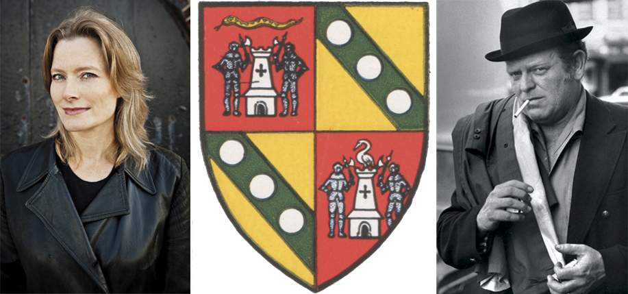 The Keegan family crest and author Jennifer Egan and NYPD detective Eddie Egan.