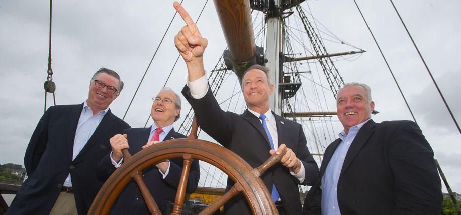 Pictured at the Kennedy Summer School at New Ross Co. Wexford on the Dunbrody Famine Ship are Tad Devine, Chief Strategist with the Bernie Sanders 2016 Presidential Campaign, The United States Ambassador to Ireland Kevin F. O'Malley, the former Maryland Governor Martin O'Malley and Kevin Cullen, Columnist with the Boston Globe. (Photo: Patrick Browne)