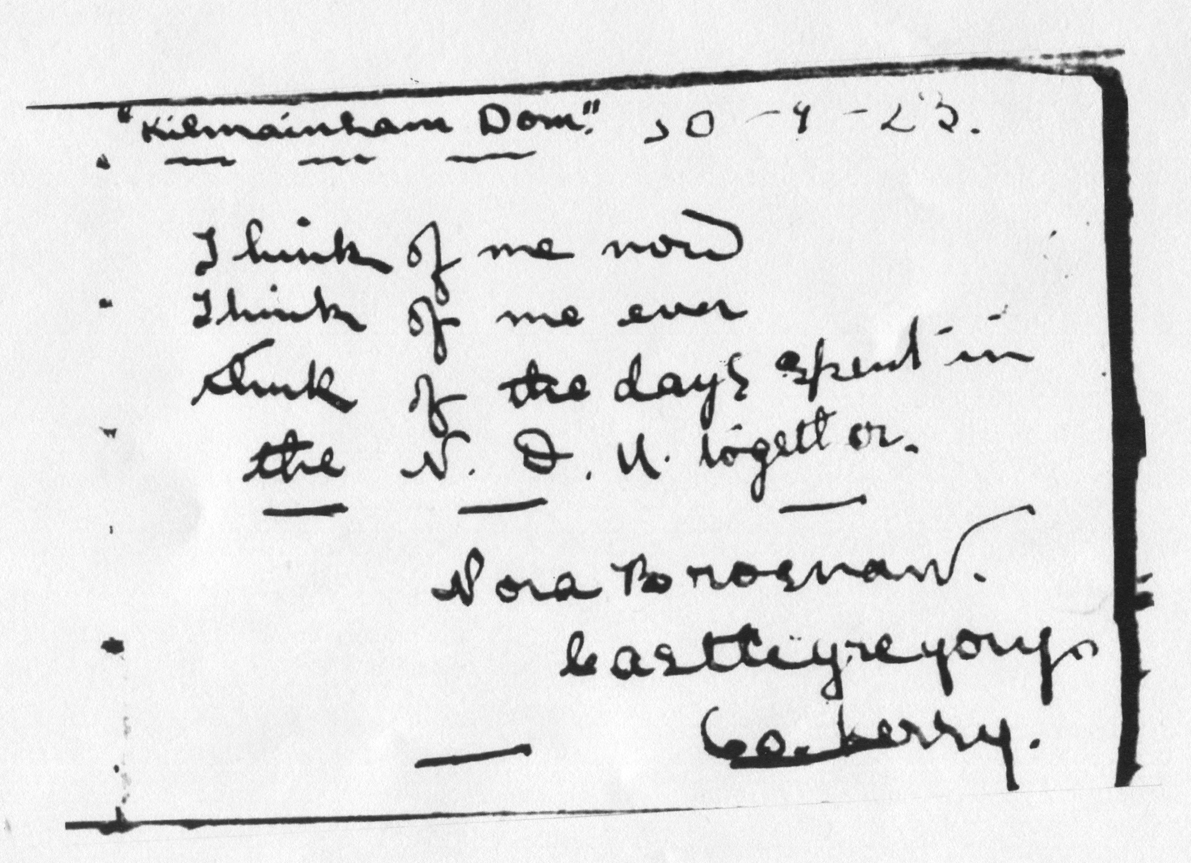 A page from autograph book of a friend of Nora's, Fanny O'Connor.