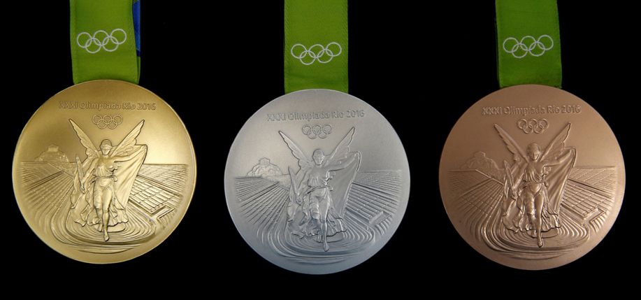 Medals from the 2016 Olympics in Rio de Janeiro.