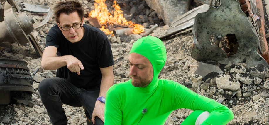 Marvel's Guardians Of The Galaxy. Director James Gunn on set with actor Sean Gunn. (Photo: Jay Maidment / Marvel 2014)